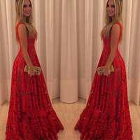 2016 Europe And America Explosion Fashion Sexy All Lace Red Dress Lace Big Swing Sleeveless Dress