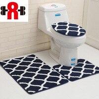 Geometric Pattern 3Pcs Mats For Bathroom And Toilet Anti slip Bathroom Carpets Floor Rugs Door Mat Washable Toilet Bath Mats Rug