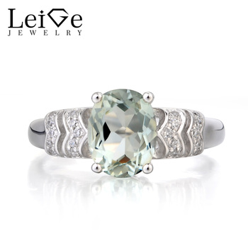 Leige Jewelry Cocktail Party Ring Natural Green Amethyst Ring Oval Cut Green Gemstone Solid 925 Sterling Silver Ring for Girls