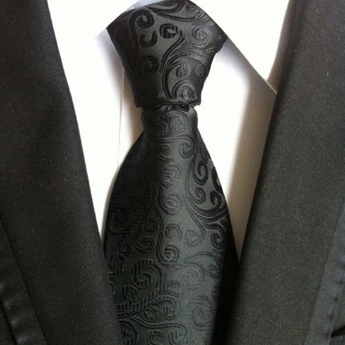 8cm Formal Ties Men's Traditional Necktie Black Paisley Gravata