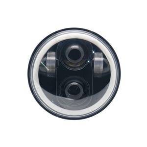 """Image 2 - 5.75 """"אופנוע LED פנס הנורה להארלי Dyna Sportster נצחון נצחון הודי מנוע פנס Halo DRL אמבר הפעל אור"""