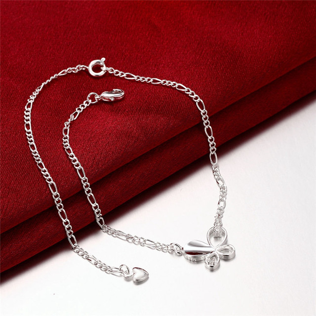 Silver Plated Anklet with Zircon Crystal Butterfly Charm