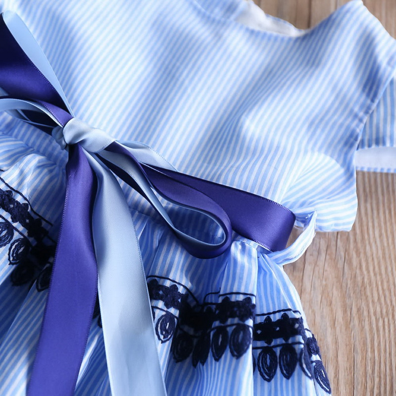 2019 Summer Blue Stripe Embroidery Dress For Baby Girls Children Cotton Causal Dress Kids Clothes 2-6Y LT011 6