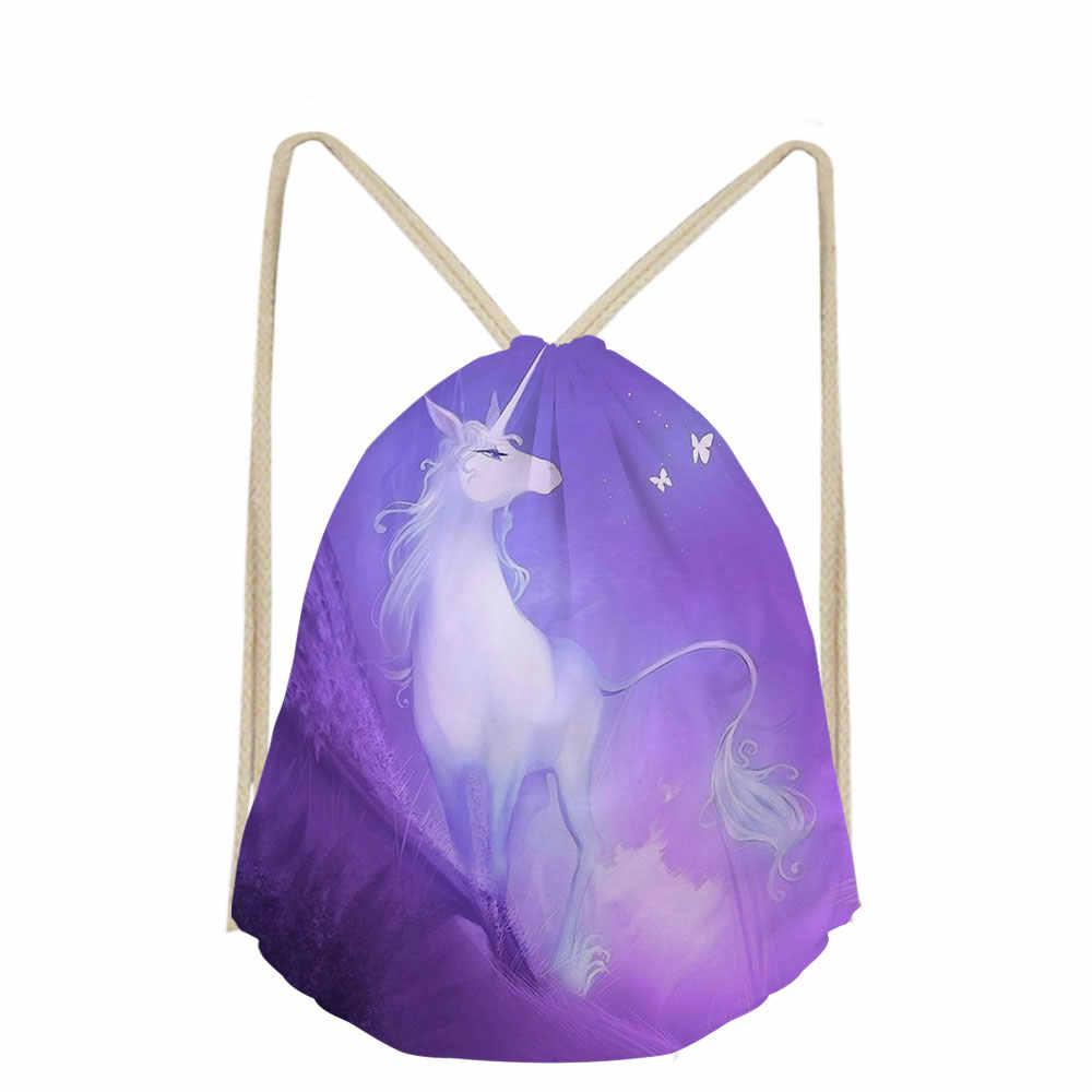 3D образец мультяшного принта единорога, повседневная мужская сумка на плечо, маленькая дорожная сумка со шнурком, школьная сумка для мальчиков и девочек