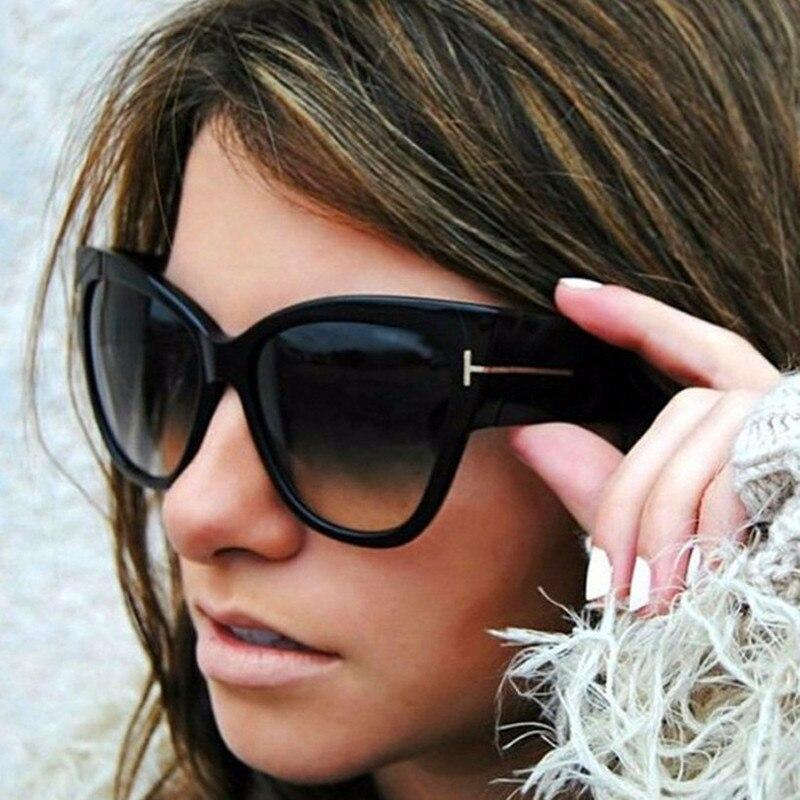 Шторы 2019 Винтаж брендовая стильная женская обувь большой кошачий глаз, солнцезащитные очки, Для женщин большой T оправа градиентные солнцез...