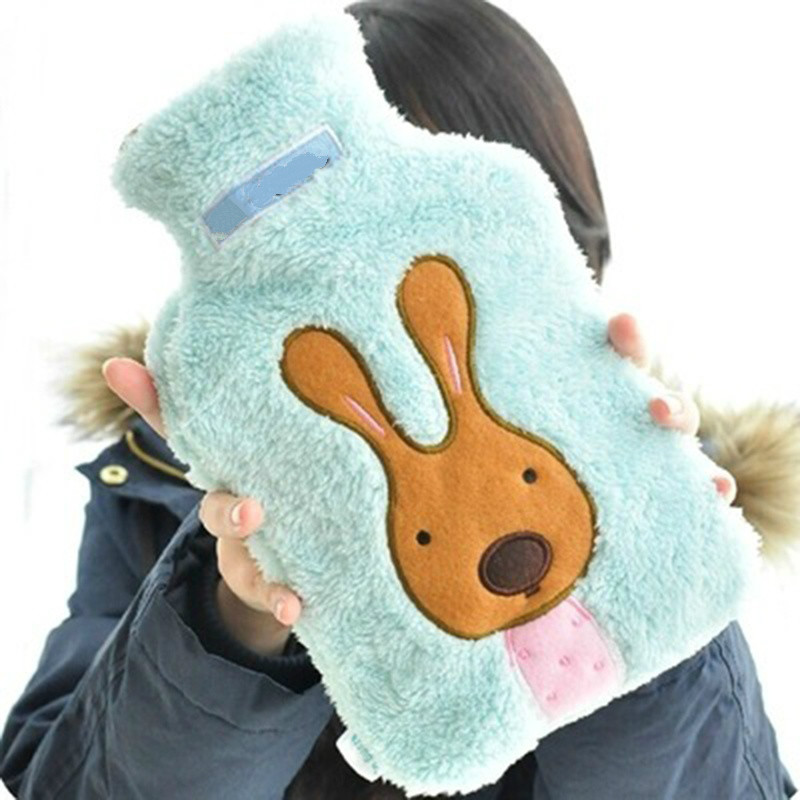 Newcomdigi Creative Cute Cartoon Rabbit Hot Water Bottle Bag Safe and Reliable Rubber Washable Household Warm Water Bag