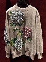 2018 Осенне зимняя обувь Тяжелая вышивка свитер женские серые флис хеджирования длинные рукава