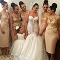 Золото Платья Невесты Короткие Лодка Шеи Чай Длины Кружева Аппликация Блестки Платье Невесты Свадьба Платья B48