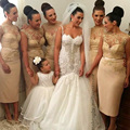 Gold Bridesmaid Dresses Short Boat Neck Tea-Length Lace Applique Sequins Bridesmaid Dress Wedding Party Dresses B48