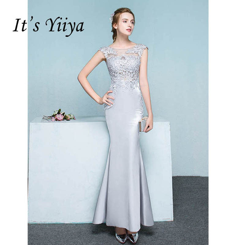 It\'s Yiiya Gray Illusion Mermaid Zipper Backless Trumpet Evening ...