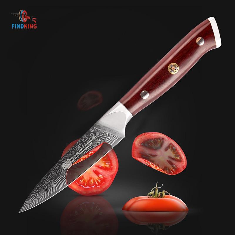 FINDKING AUS-10 Damaskus Stahl Palisander Griff Damaskus Messer 3,5 zoll Schäl Messer 67 schichten Obst Peeling Messer
