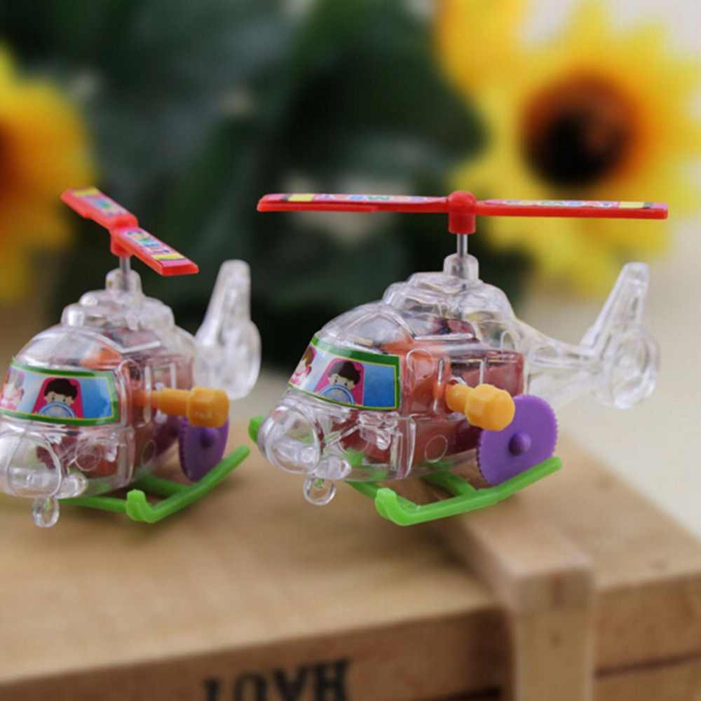 Colorful New Baby Funny Plane Toys Somersault Running Clockwork Transparent Aircraft Wind Up Toy Environmental Materials