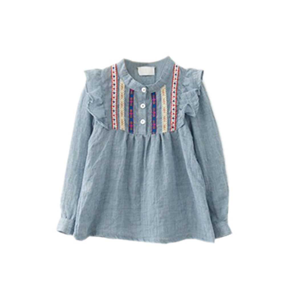 Kids Baby Girls Tops Autumn Long Sleeve Blouses Girls Top Embroidered Ruffle Loose Blouses Children Girl Blusa 1-6 Years объектив sony selp28135