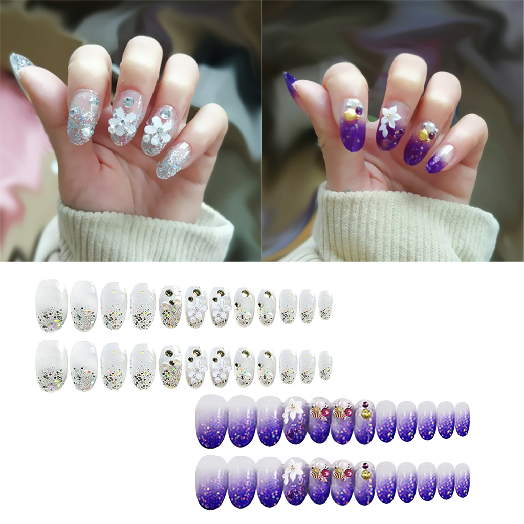 24Pcs False Artificial Nail Tips Full Cover 12 Sizes for for Nail Art Salons and Home DIY - 2 Colors Optional