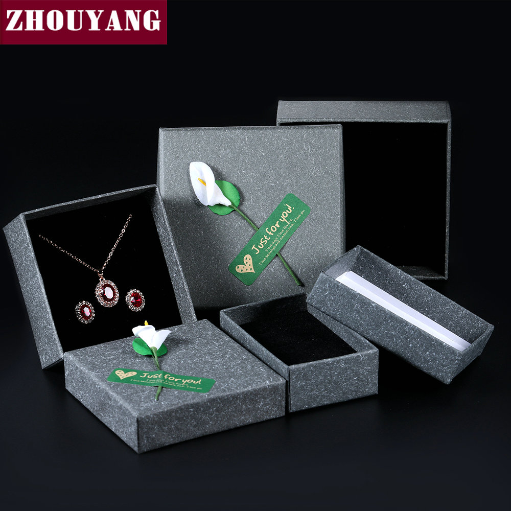 Top Quality Royal Style Gray Kraft Paper PACKAGING Jewelry BOX For Ring Earring Necklace Sets JPB003 JPB004 JPB005
