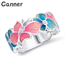Canner Tiny Colorful Rings For Women Blue Crystal Floral Rings Engagement Wedding Flower Rings Jewelry Gifts Accessories A40