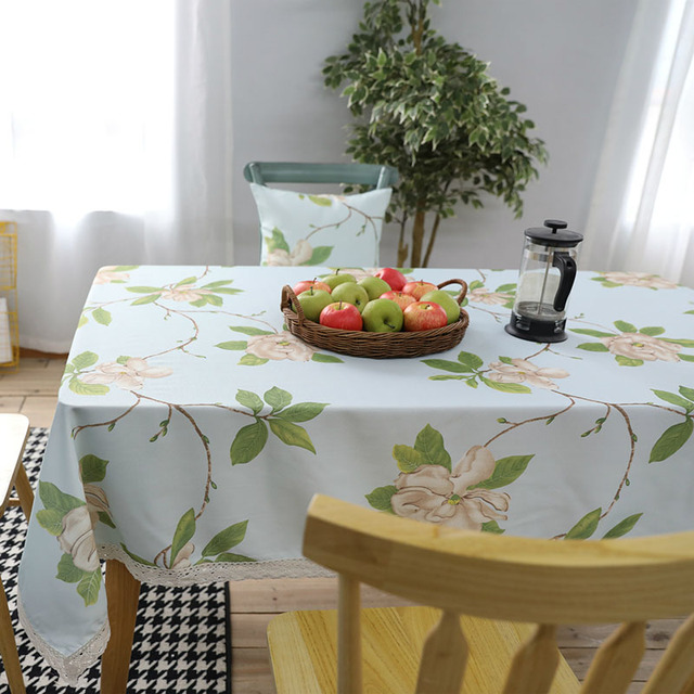 Polyeater/Cotton Table Cloth Floral American Country Style Waterproof Decoration Rectangular Tablecloth Manteles Table Cover