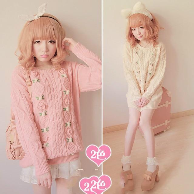 Princess sweet lolita sweater BOBON21 soft amo pink 3D small flowers twist thick sweater Autumn and winter warm long type T0895