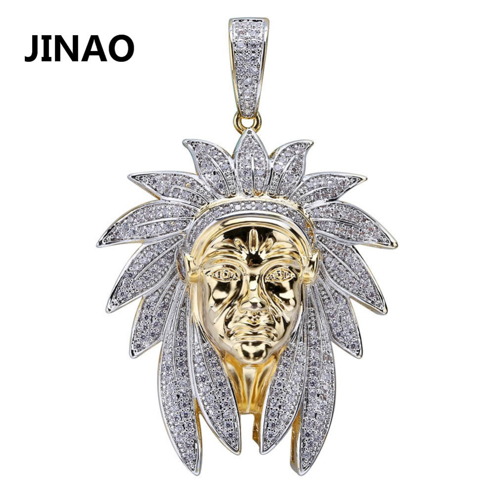 Iced Out Indische Chef Kopf Charme Anhänger & Halsketten Hip Hop Gold Silber Farbe Ketten Für Männer Maske Indian Geschenke schmuck Native
