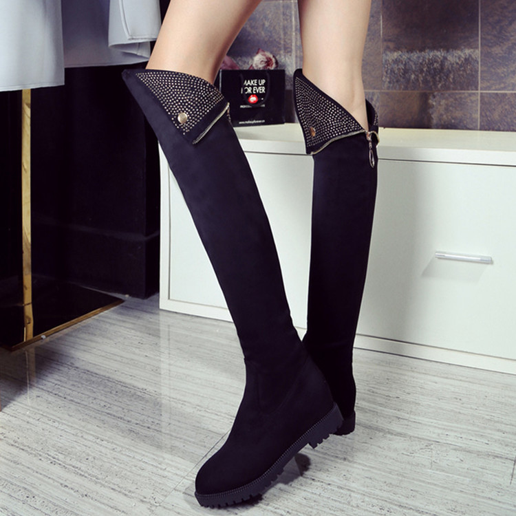 2017 Botas Mujer Big Size 34-43 Brand Design Patch Color Over The Knee Boots Thick Sole Platform Slim Long Winter Autumn X61-6