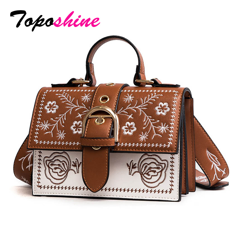 Toposhine Female Bags Small Black Messenger-Bags Vintage Panelled PU Women Embroidery