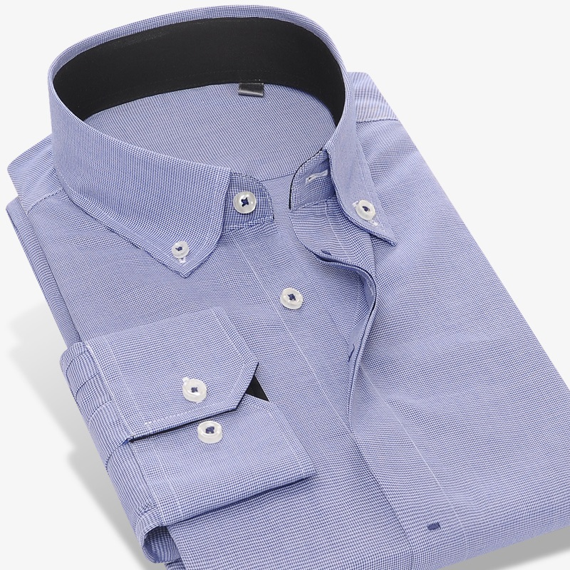 Mens Hidden Buttons Dress Shirt No-pocket Slim Clothes Long Sleeve Small Plaid Button-Down Cotton Shirt Camisa social masculina
