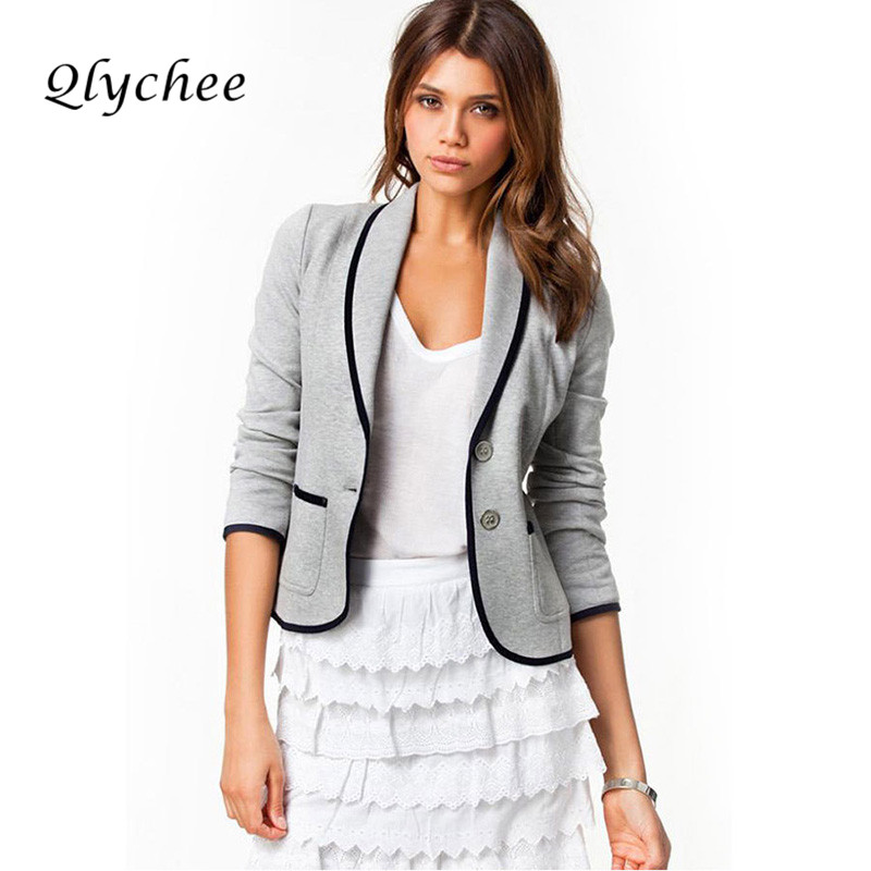 Qlychee Autumn Women Blazer Jacket Long Sleeve Notched Collar Slim Blazers OL Elegant Ladies Coat Lapel Work Blazer Feminino