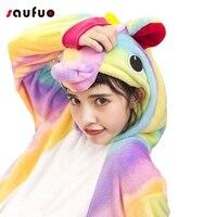 New Rainbow Unicorn Pajamas Sets Flannel Nightie Adult Pijama De Unicornio Cosplay Costume Pajamas Sleepwear Unisex