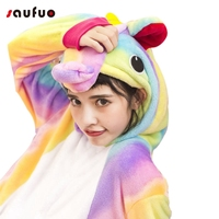 New Rainbow Unicorn Pajamas Sets Flannel Nightie Adult Pijama De Unicornio Cosplay Costume Pajamas Sleepwear Unisex