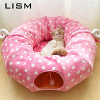 Folding Pet Cat Bed Mat Toys Ball Tunnel Tent Pattern Decorate Cat House Home Bed Soft Comfortable Beds Mat Pet Toys Supplies