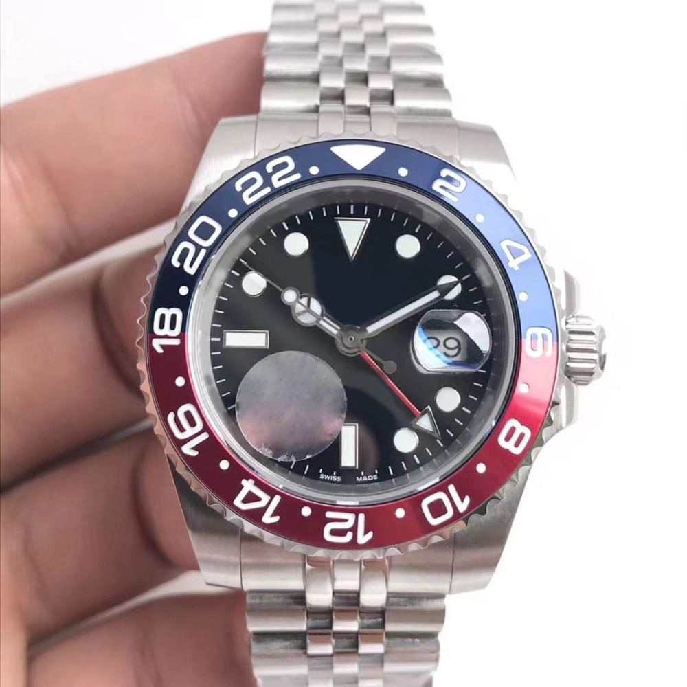 2019 New mens Wristwatch Basel red blue Gmt master Stainless Steel Watch 126600 Automatic movement Mens Watch free shipping2019 New mens Wristwatch Basel red blue Gmt master Stainless Steel Watch 126600 Automatic movement Mens Watch free shipping