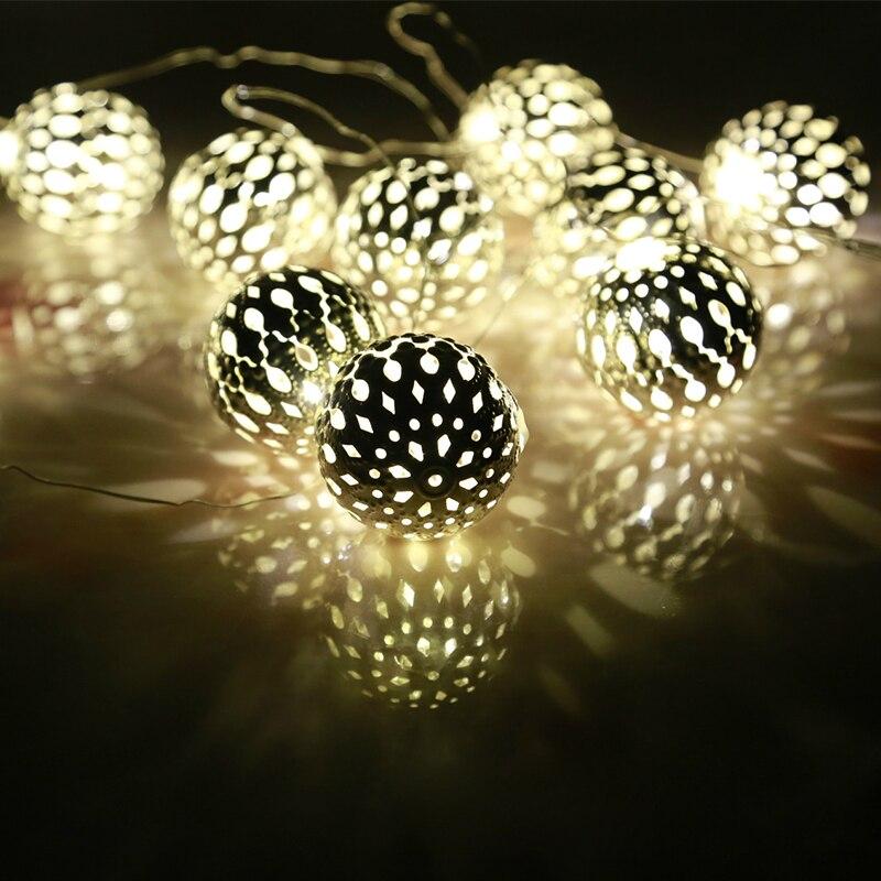 20 lamp aa battery box led lamp string gloden metal sphere lighting christmas lights festival decoration - Sphere Christmas Lights