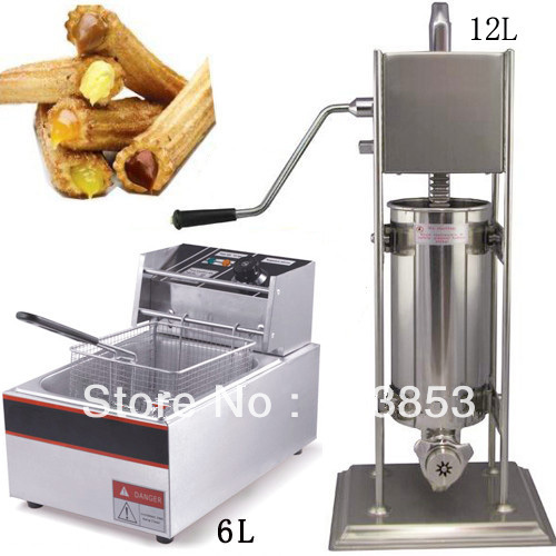 High quality 2 in 1 12L Spanish Churro Machine + 6L Electric Deep Fryer free shipping commercial manual spanish 6l gas fryer churro churrera fryer maker machine