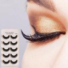 New Hot Sale 5 Pairs Natural Long Fake Eye Lashes Handmade Makeup Thick False Eyelashes