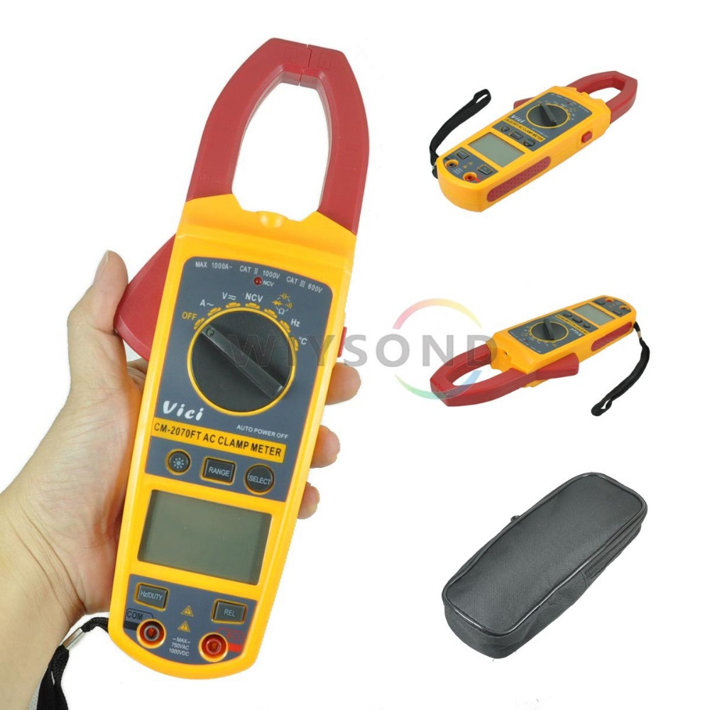 ФОТО M055 vici CM2070FT 4000 Diode NCV  Digital AC / DC Clamp Meter Multimeter Tester DCV ACV ACA R with BACKLIGHT FREE SHIPPING