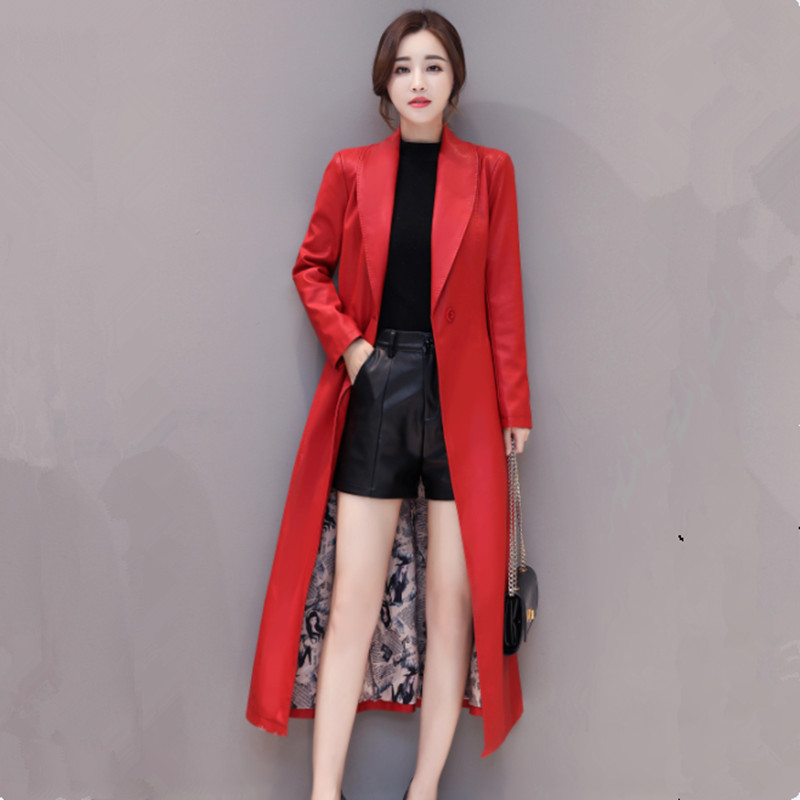 2019 New X-long   Leather   Jacket Women For Winter Fashion M-4XL Plus Size Turn Collar Single Button Female Faux   Leather   Coat