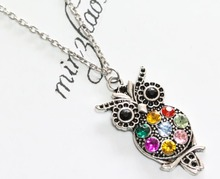ФОТО Vintage Colorful Rhinestone Antique Silver Hollowed Cute Owl Charm Pendant Chain Necklace    Women Jewelry