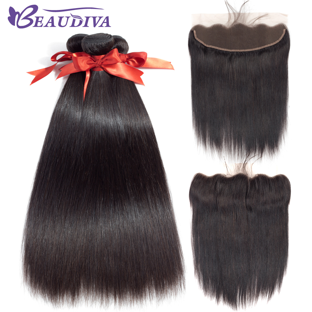 Beaudiva Pre-Colored Malaysian Straight Lace Closure With 3pcs Straight Human Hair Bundles Non-Remy Hair With Closure Free Part