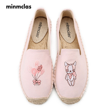 MInmclas Slippers Embroidery Cute Comfortable Ladies Womens Casual Espadrilles Shoes Breathable Flax Hemp Canvas for Lovely