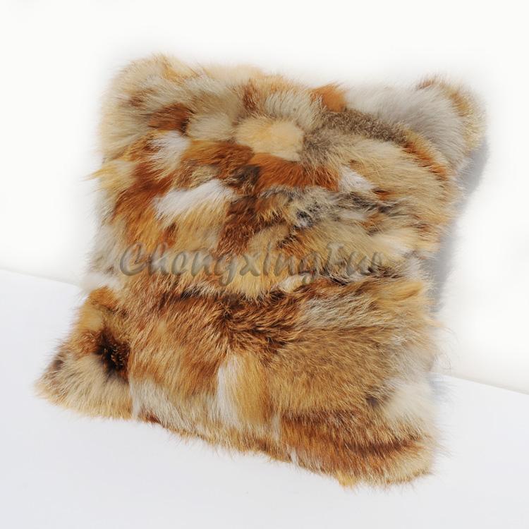 CX D 69 40X40 Cm Super Grande Real Red Fox Fur Sofá Capa De
