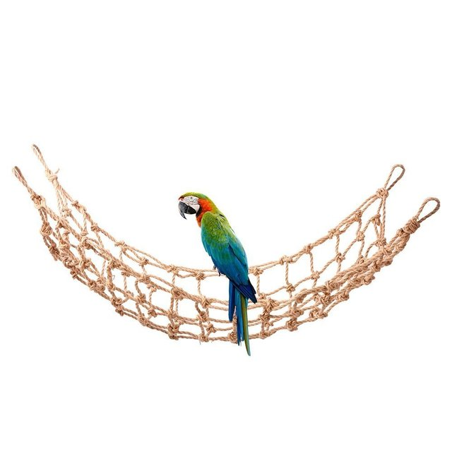 45x90cm Parrot Climbing Hemp Rope Bird Net Hanging Toy Cage ladder Perching Play Gym Stand Hammock Cockatoo African Budgies 2