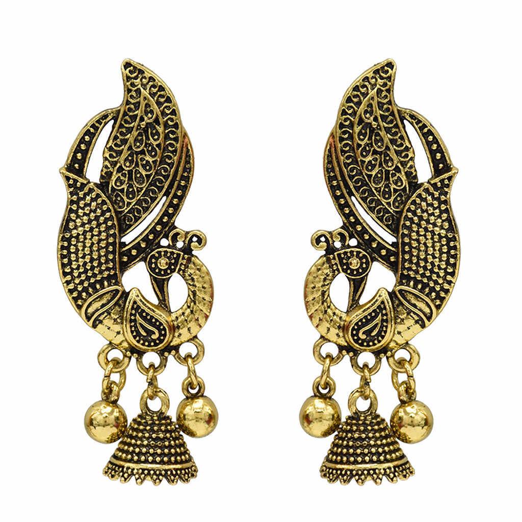 Grosir Mewah Warna Perak Anting-Anting Logam Vintage Bohemian Anting-Anting Geometris Merak Boll Kreatif Anting-Anting Wanita Perhiasan # ZF