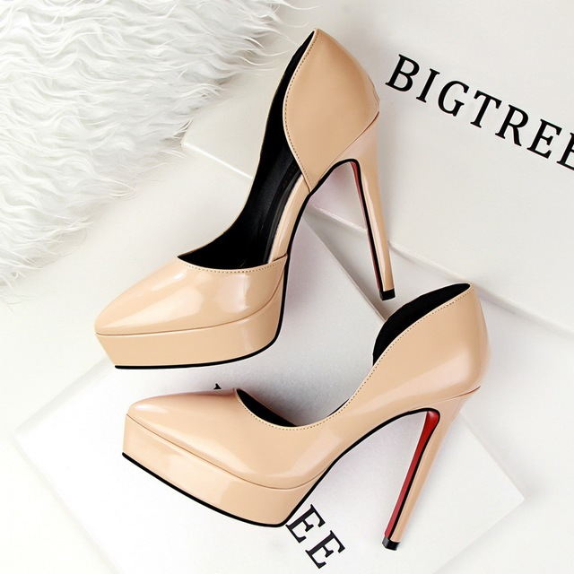 New Summer Pumps Women Platform High Heels Shoes Elegant Thin Heel T Strap Shallow Hollow Pointed  9266-8 OL Lady Office Shoes