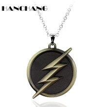 Men's Personality  Jewelry DC Comics Superhero The Flash Men Lighting Necklace Pendants Necklace Link Chain