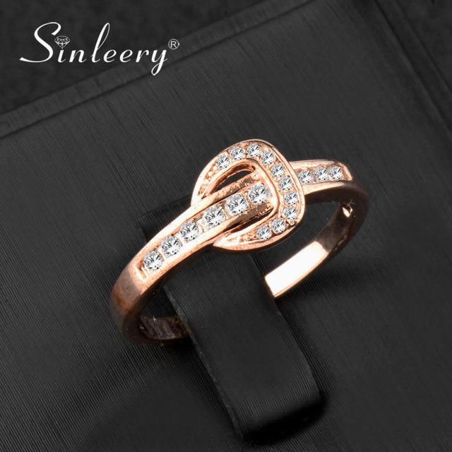 SINLEERY Unique Design Cubic Zircon Crystal Belt Shaped Wedding