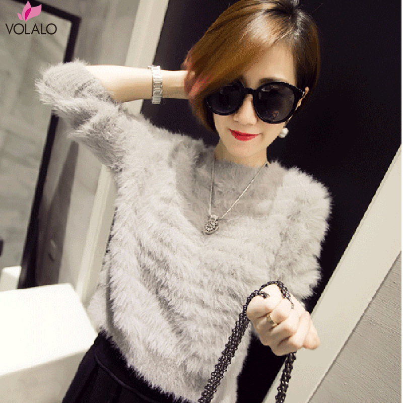 2019 Winter Sweater Female Warm Soft Sweater Women Mink Cashmere Sweaters O neck Slim Bottoming Shirt Thick Sweater Pullover