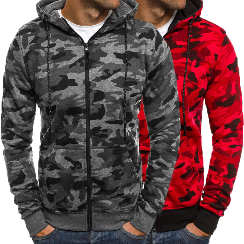 Men's Hoodies Fashion Sweatshirts Winter Tacksuit Camo Long Sleeve Hoody Zipper Pockets Man Sweatshirt Bodybuilding Hombre