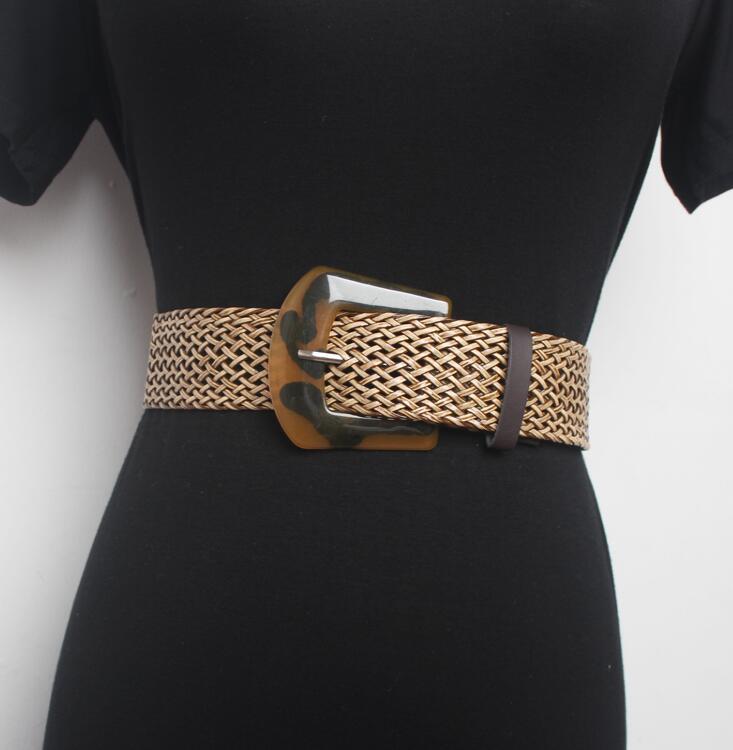 Women's Runway Fashion Knitted Cummerbunds Female Dress Corsets Waistband Belts Decoration Wide Belt R1551