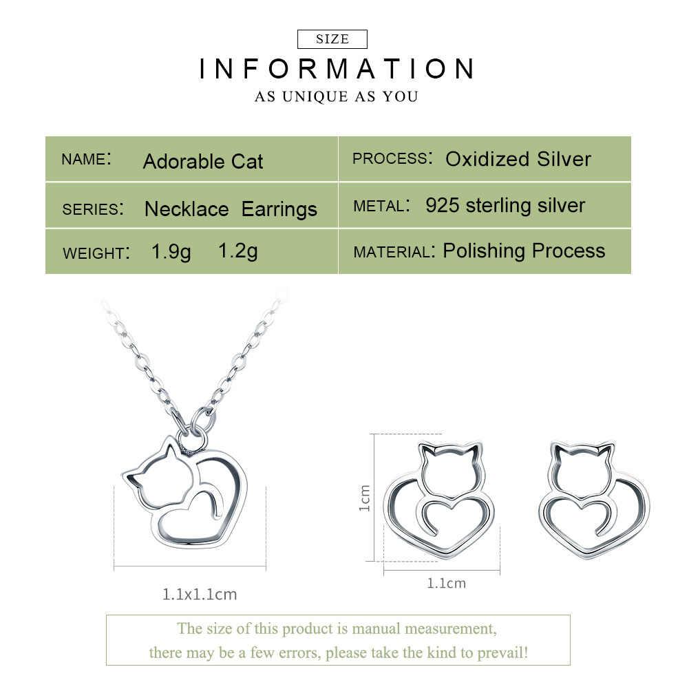 BAMOER 100% 925 en argent Sterling belle chatte chat femmes ensemble de bijoux collier boucles d'oreilles ensembles de bijoux en argent Sterling bijoux cadeau