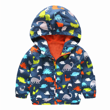 90-120cm Cute Dinosaur Spring Kids Jacket Boys Outerwear Coats Active Boy Windbreaker Cartoon Sport Suit For Children Kids